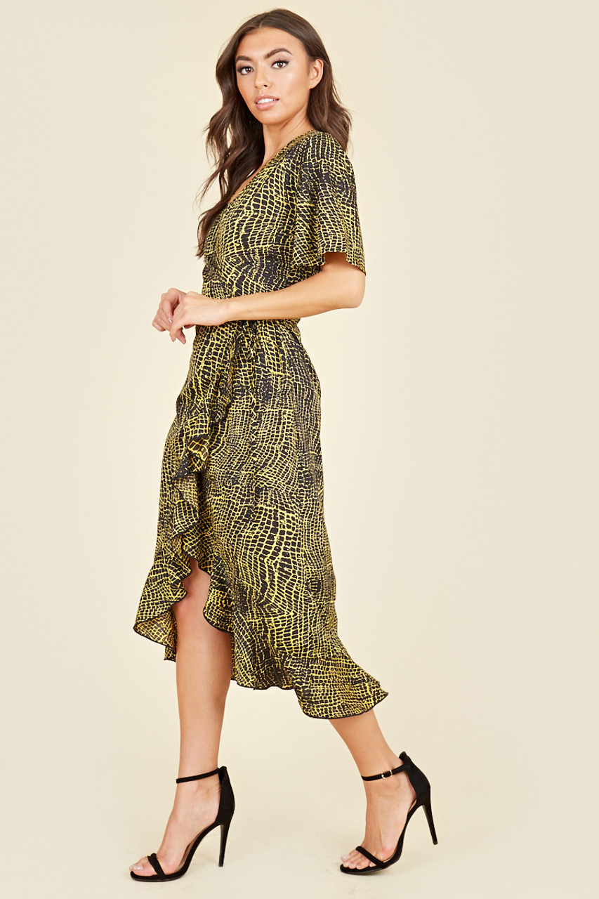 Flutter Short Sleeve Ruffle Hem Wrap Midi Dress In Yellow Animal Print