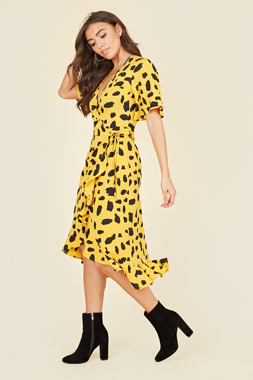 Flutter Short Sleeve Ruffle Hem Wrap Midi Dress In Yellow Abstract Print
