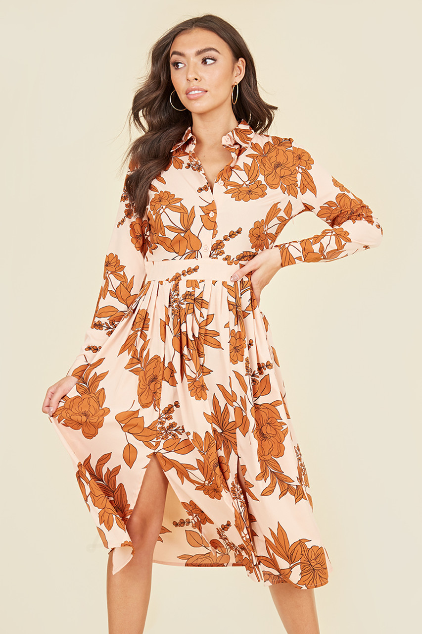 Split Front Long Sleeve Midi Shirt Dress In Rust & Blush Large Floral Print