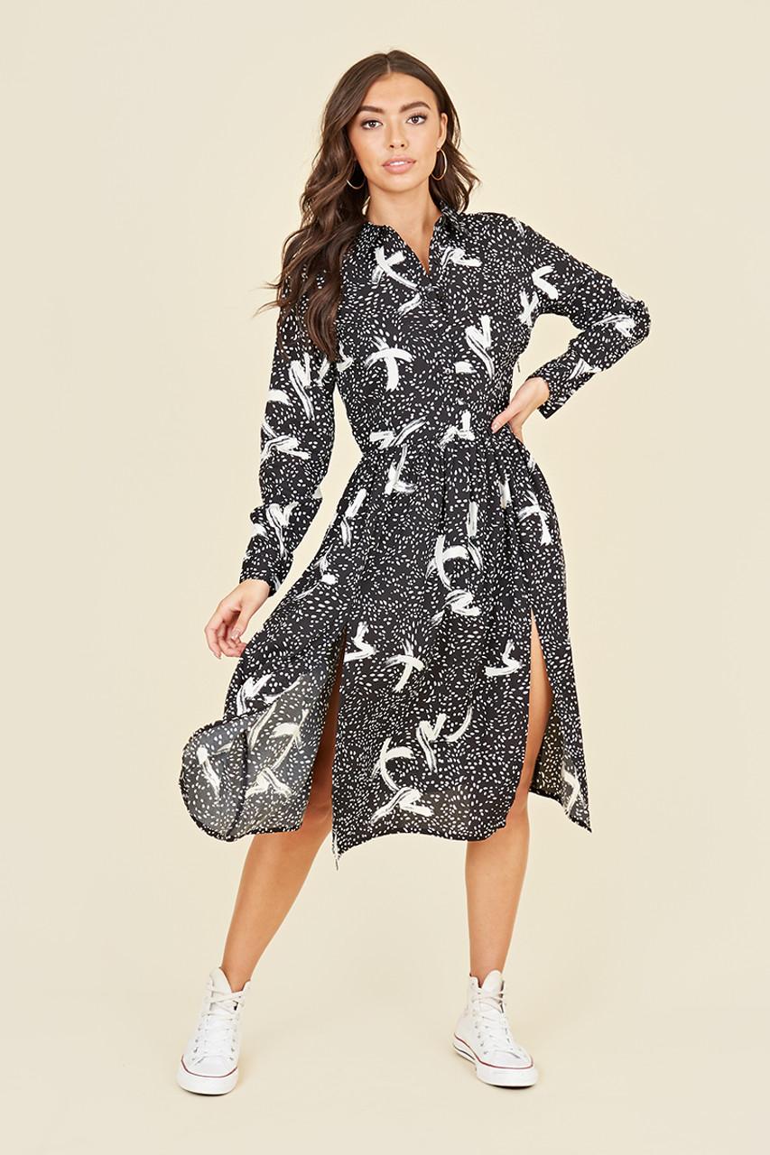 Split Front Long Sleeve Midi Shirt Dress In Abstract Brushstroke Print