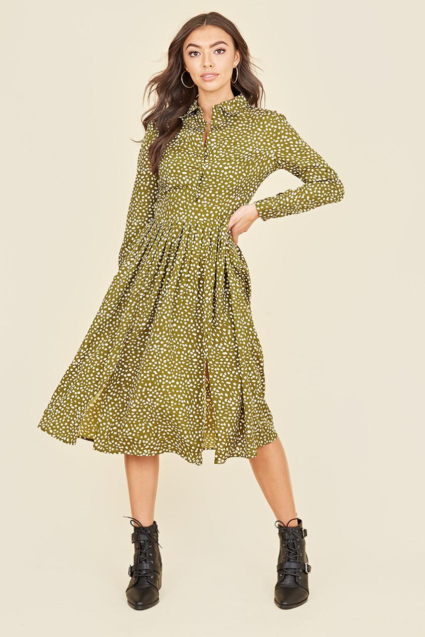 Split Front Long Sleeve Midi Shirt Dress In Irregular Khaki Green Polka Dot