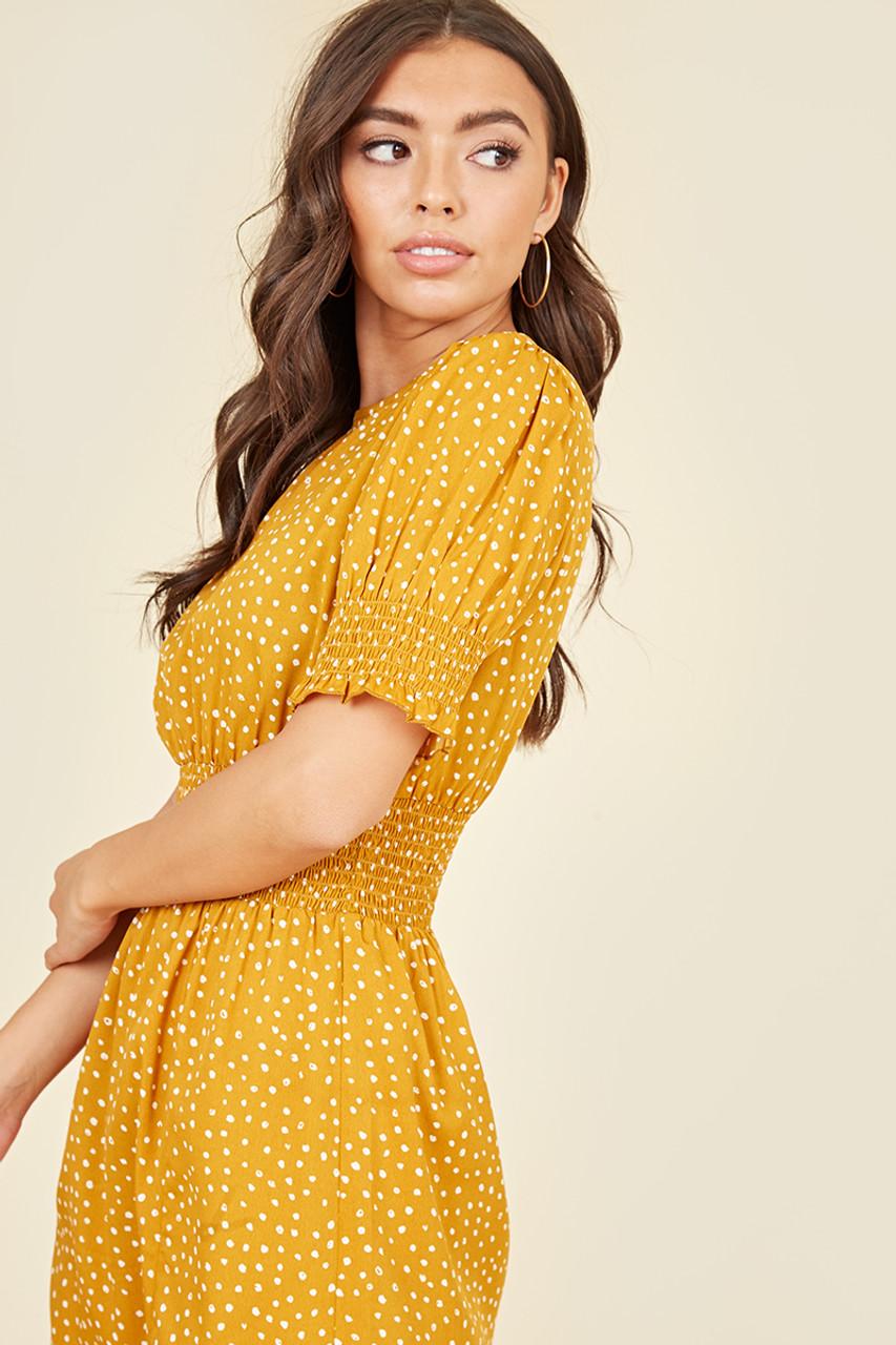 Shirred Waist & Cuff Split Front Midi Dress In Yellow & White Polkadot