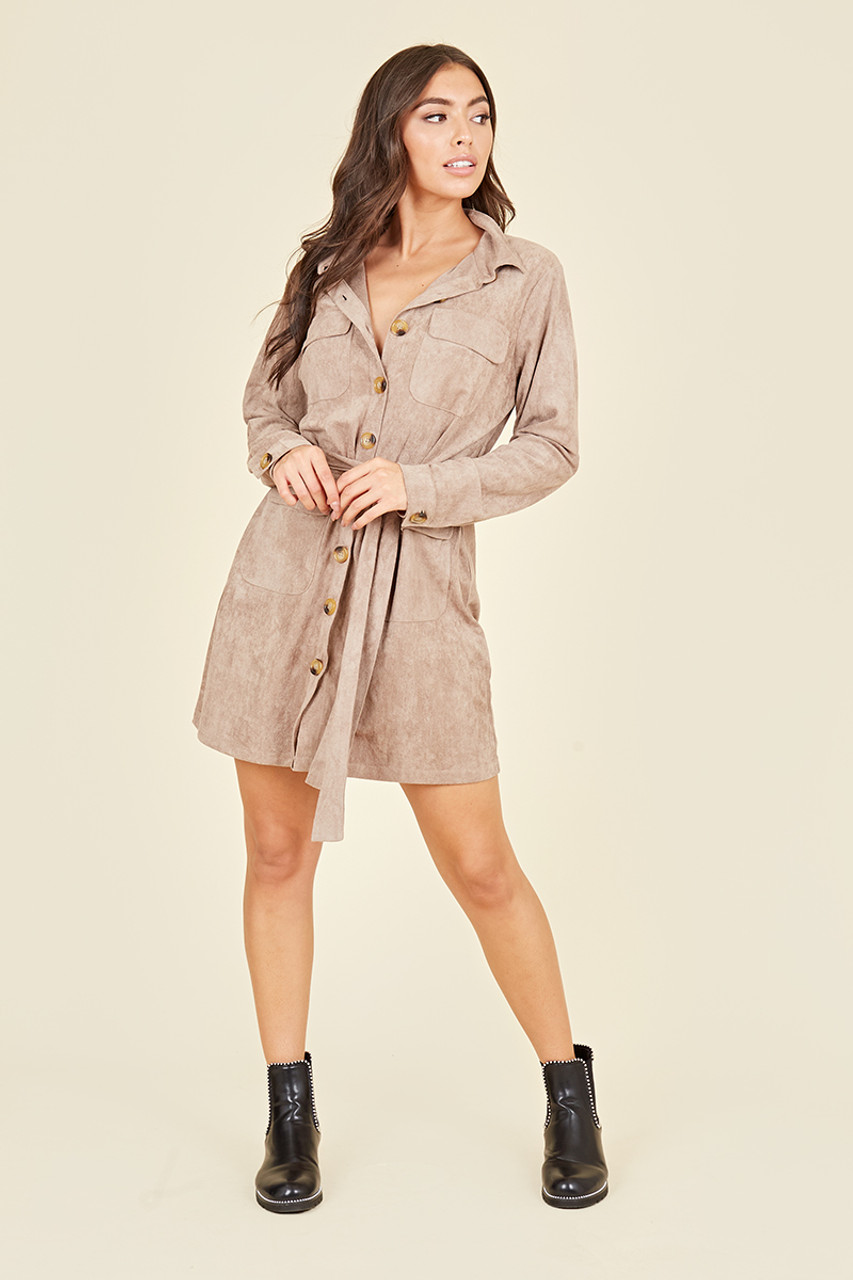 Horn Button Down Utility Pocket Long Sleeve Mini Shirt Dress In Nude Suede