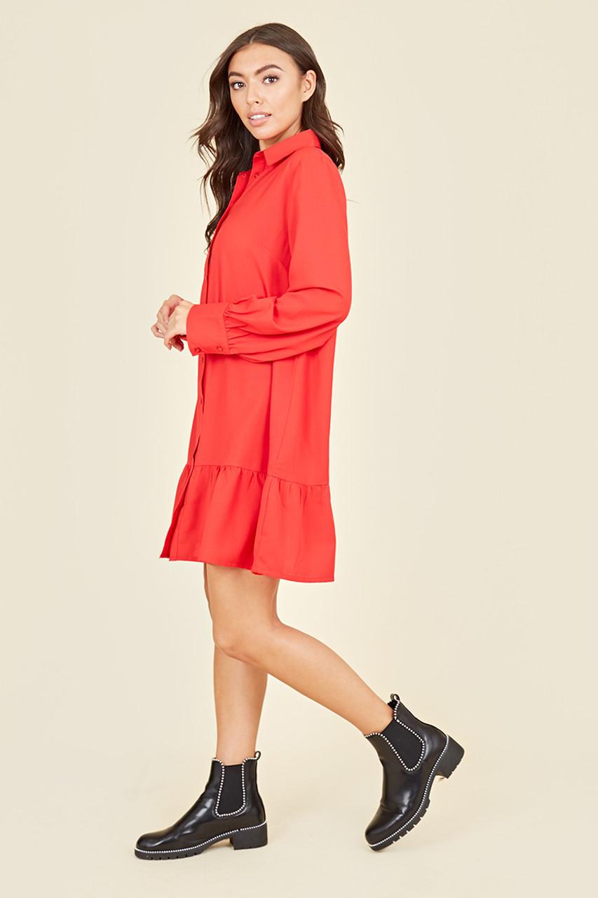 Ruffle Hem Long Sleeve Mini Shirt Dress In Red