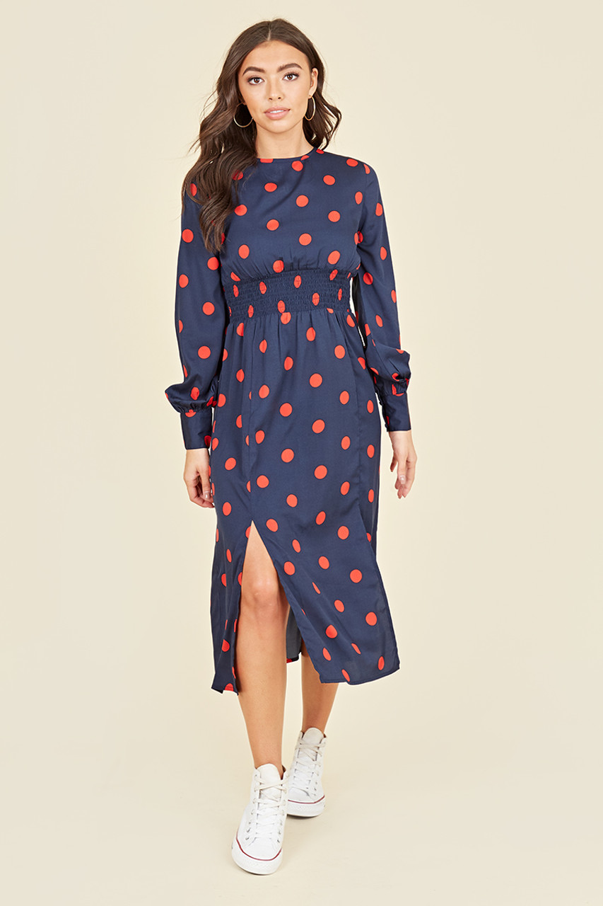 Shirred Waist Long Balloon Sleeve Midi Dress With Splits In Navy And Red Polkadot