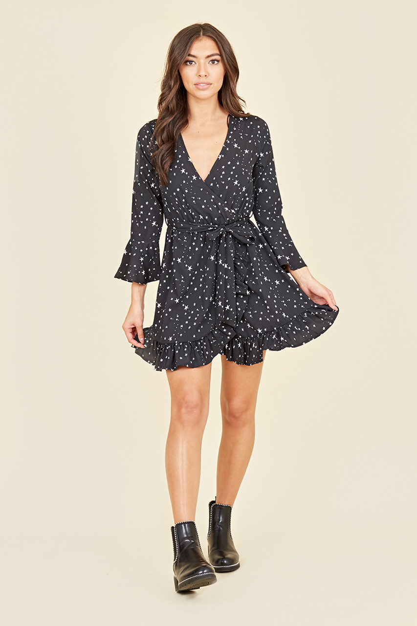 Ruffle Cuff Sleeve Belted Wrap Front Ruffle Hem Mini Dress In Star Print