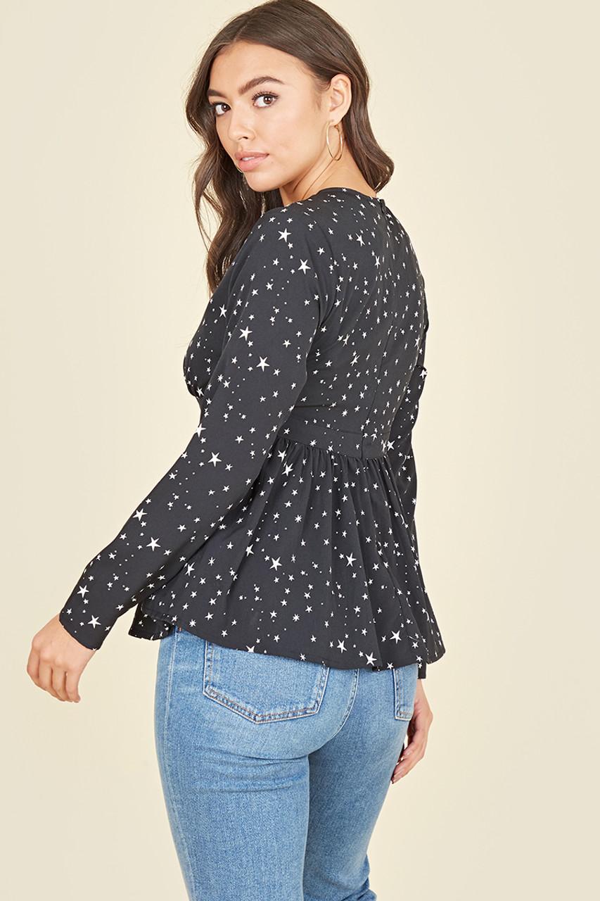 Black White Star Peplum Hem Self Fabric Covered Button Long Sleeve Tea Top