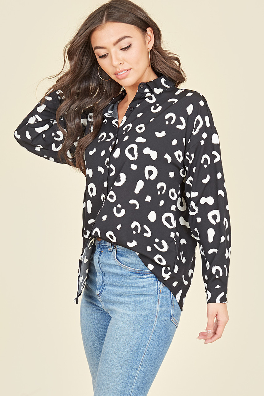 Black White Splodge Oversized Shirt