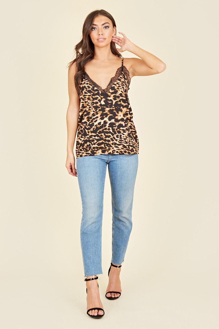 Orange Black Cheetah Cami Top With Lace Detailing