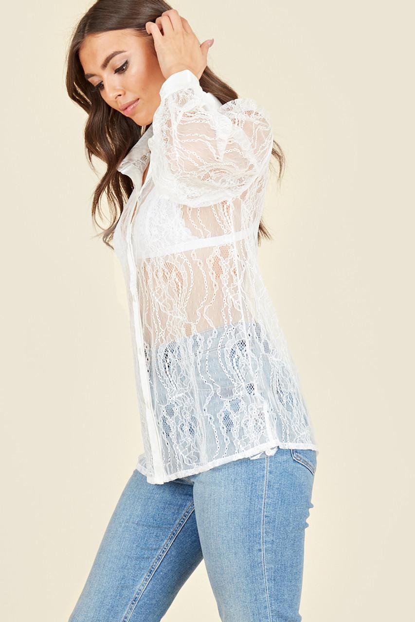 White Lace Satin Detail Oversized Shirt
