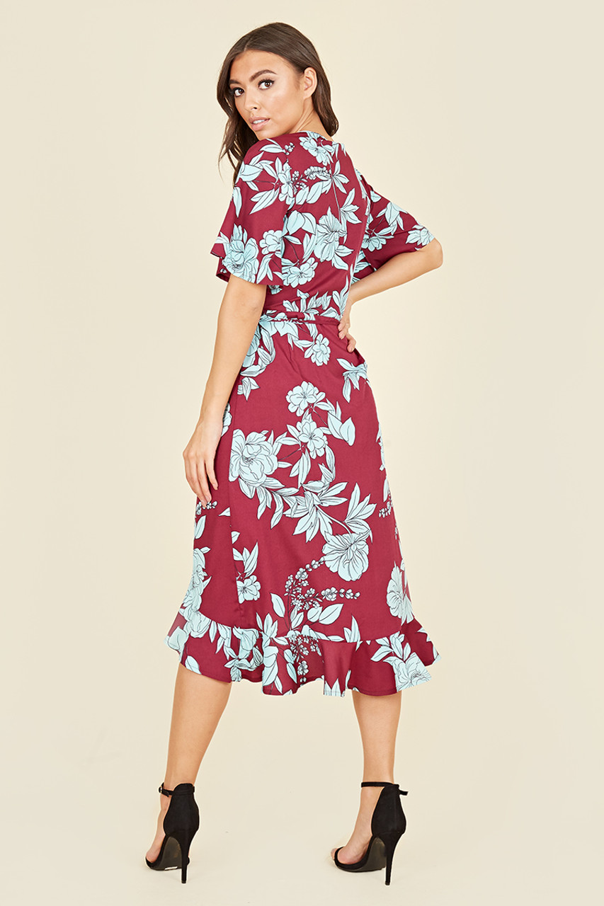 Flutter Short Sleeve Ruffle Hem Wrap Midi Dress In Burgundy Blue Large Floral