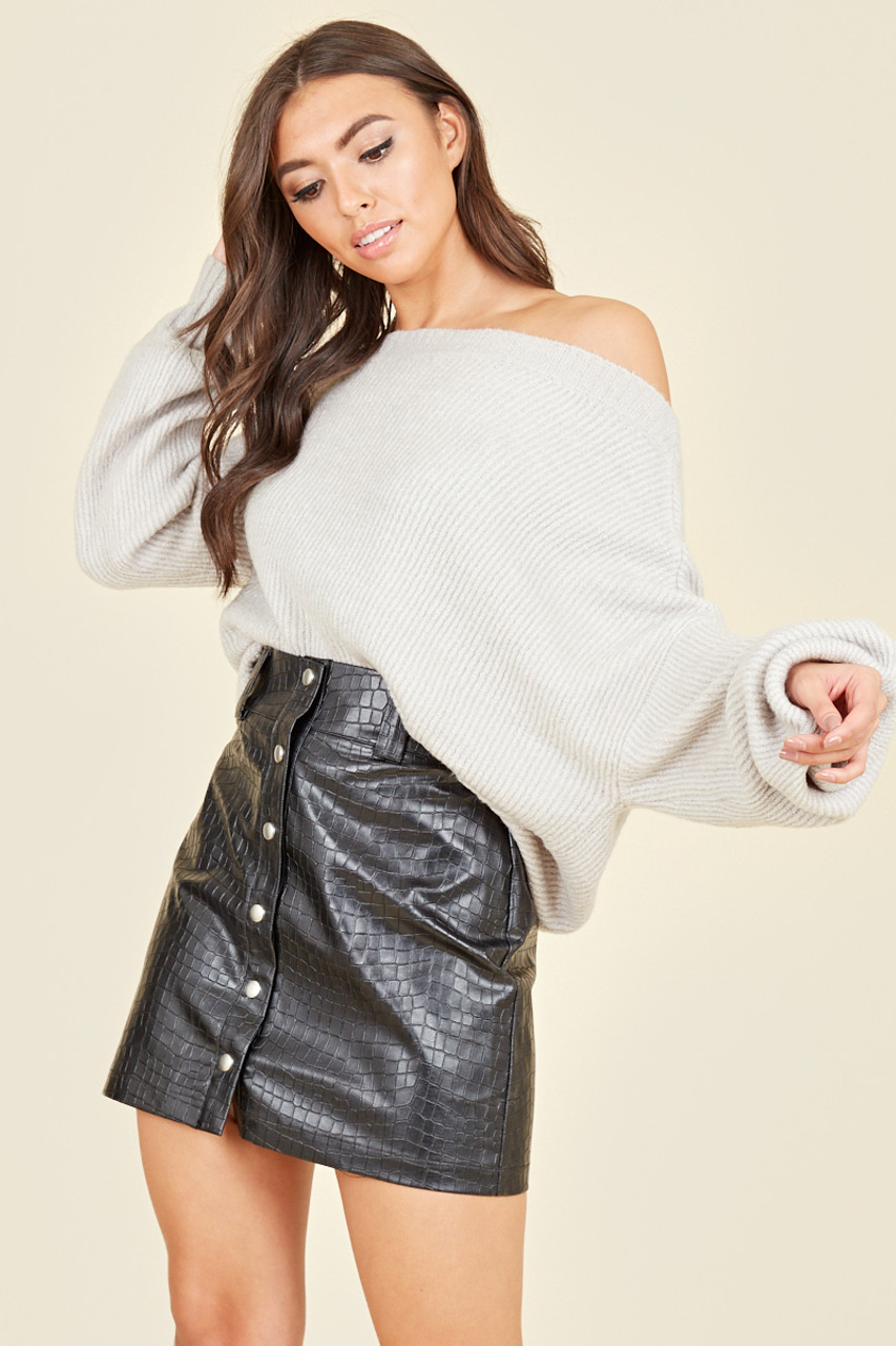 Black Croc Pu Mini Skirt