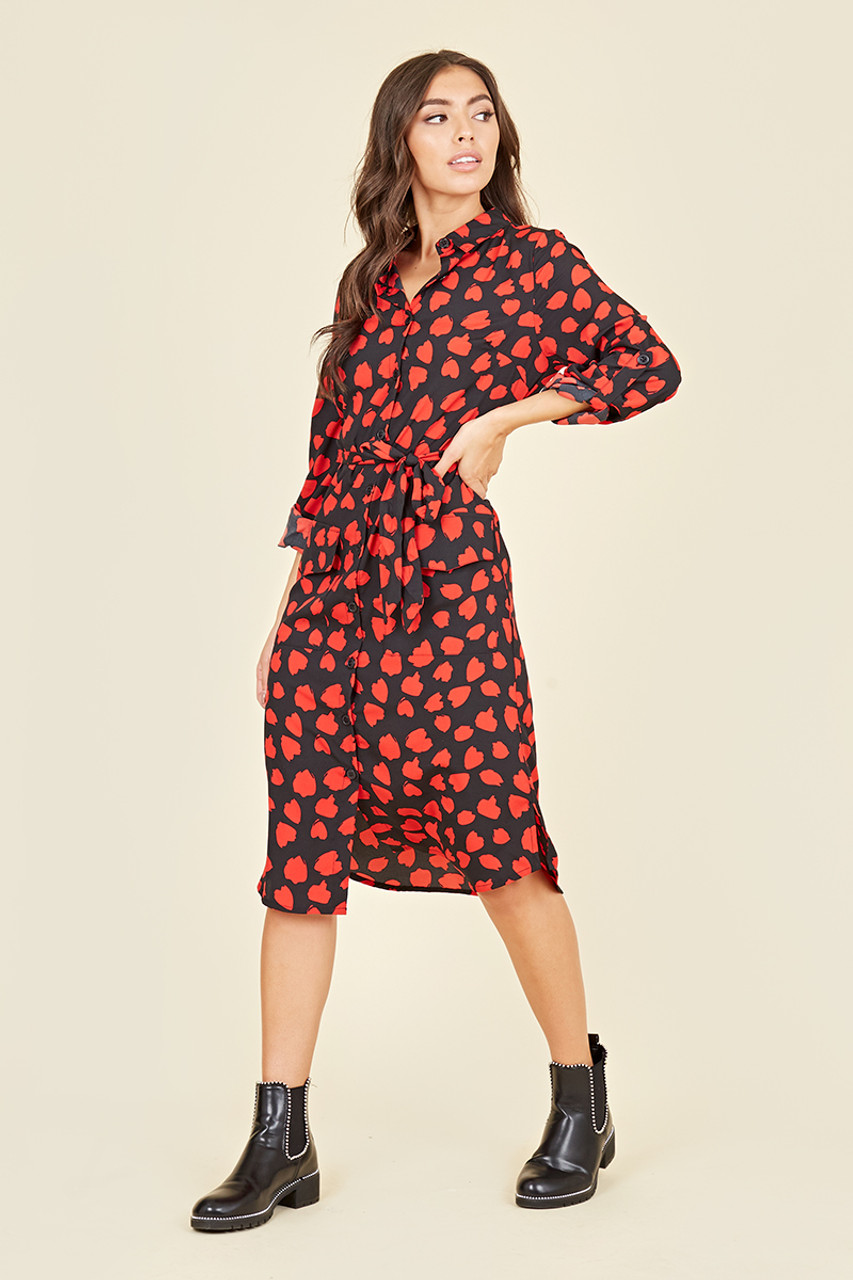 Utility Pocket Belted Long Sleeve Midi Shirt Dress In Abstract Heart Print
