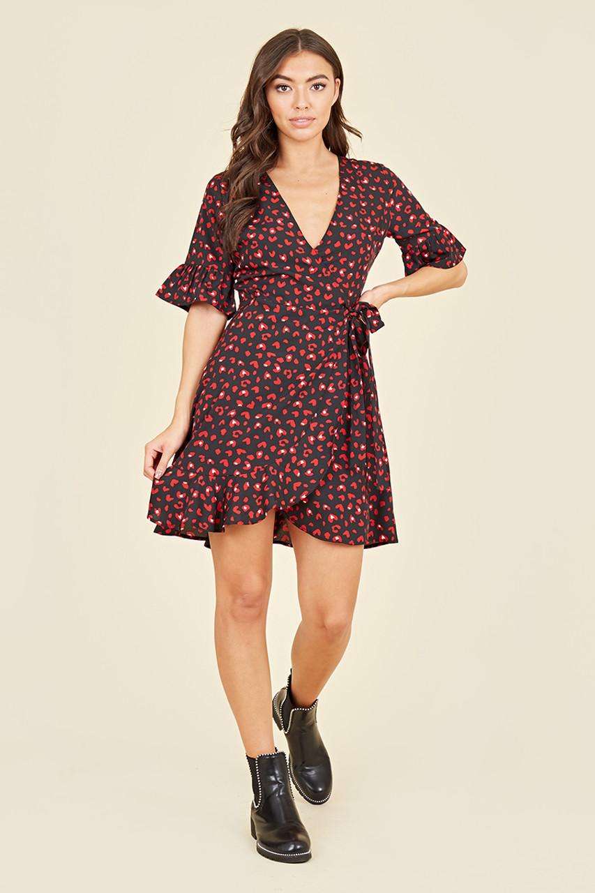 Black and Red Heart Print Wrap Frill Hem Mini Dress