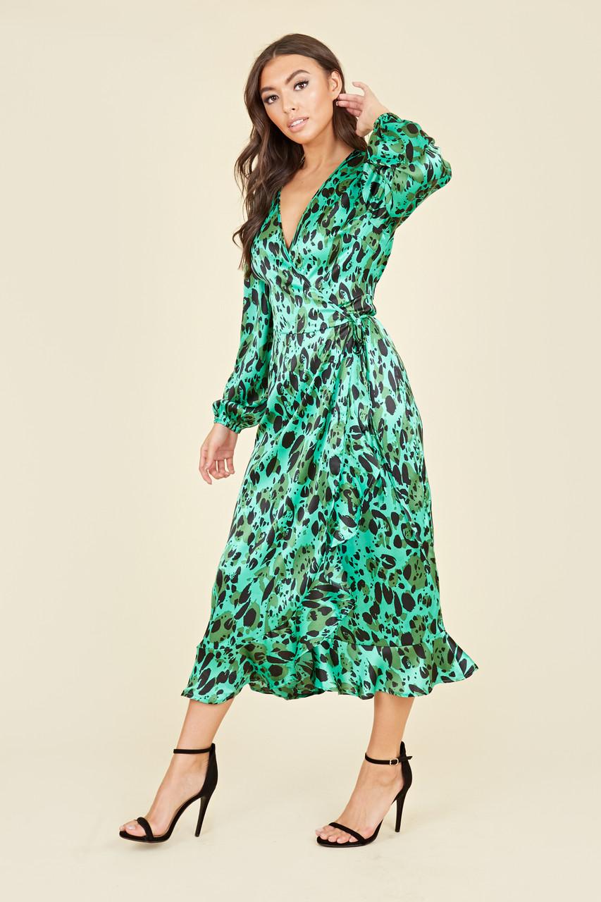 Green Satin Animal Print Ruffle Hem Wrap Midi Dress