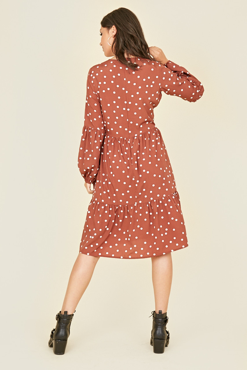 Rust Scattered Spot Puff Sleeves Tiered Midi Smock Dress