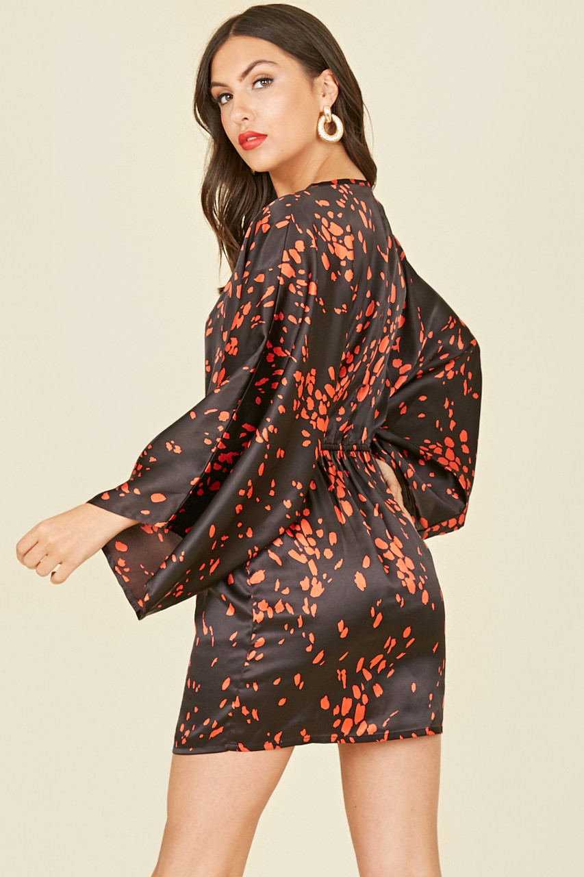Black Red Scattered Splodge Satin Print Fixed Wrap Batwing Sleeve Mini Dress
