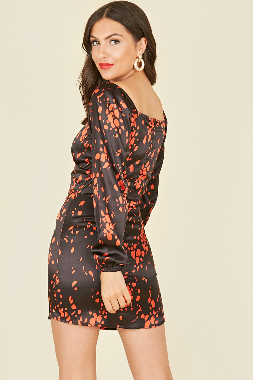 Black Red Scattered Splodge Satin Print Bodycon Mini Dress