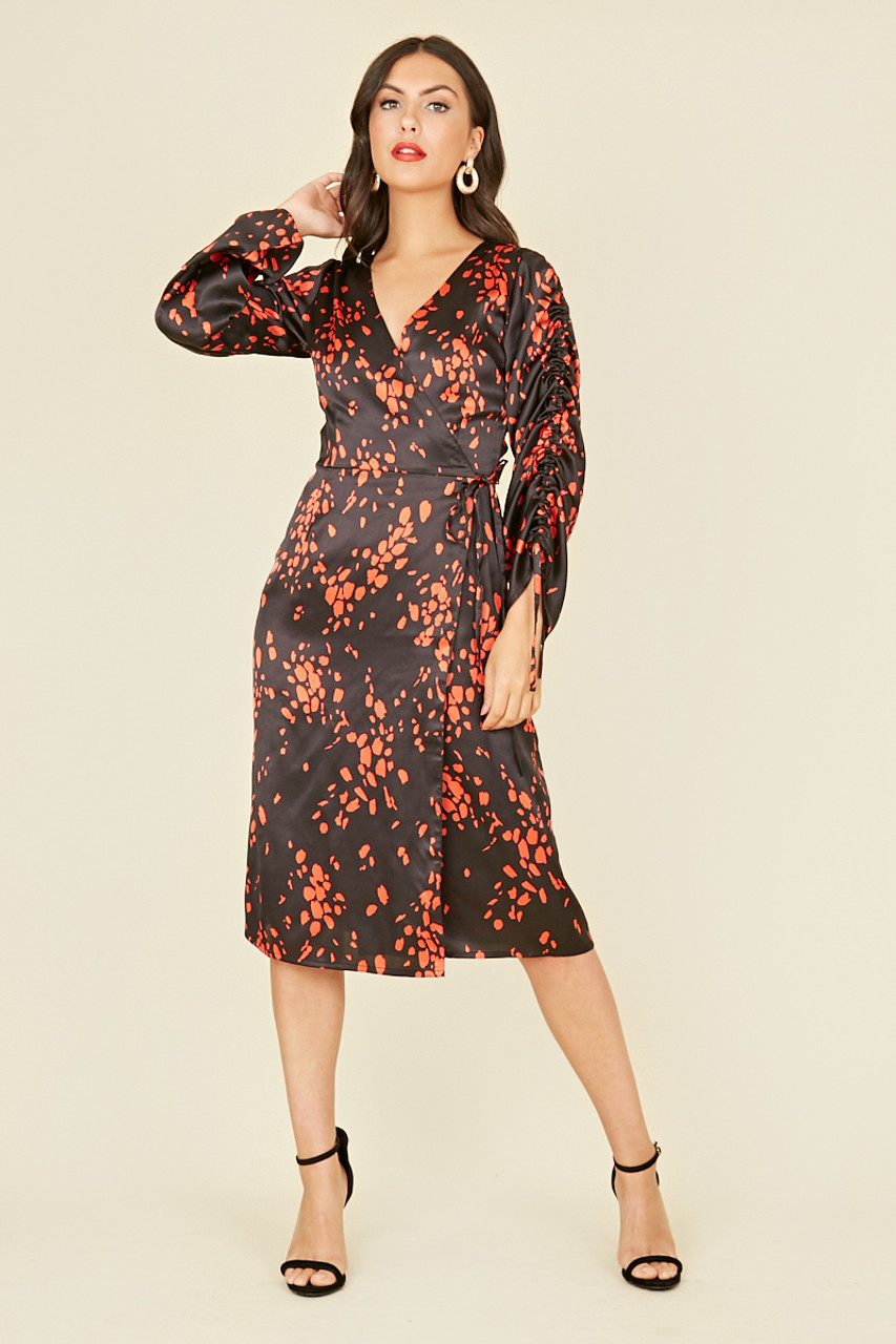 Black Red Scattered Splodge Satin Print Ruched Sleeve Wrap Midi Dress