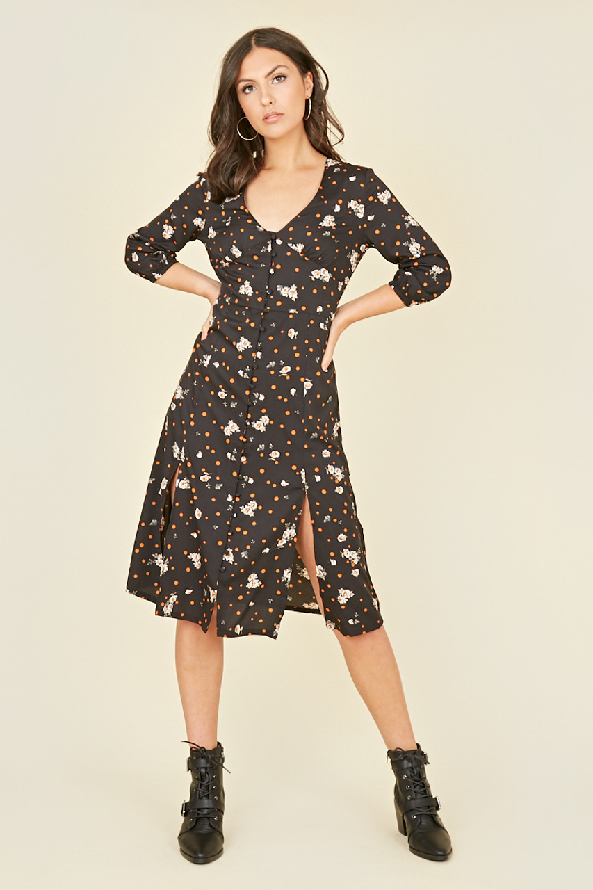 Black Spot Floral Button Through Midi Tea Dress with Front Splits