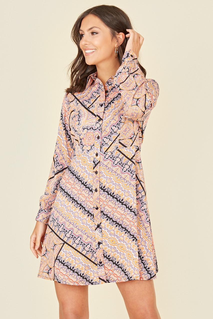 Multi Scarf Print Long Sleeve Mini Shirt Dress