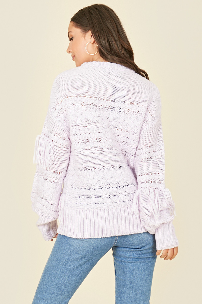 Lilac Cable Knit Jumper with Tassel Detail
