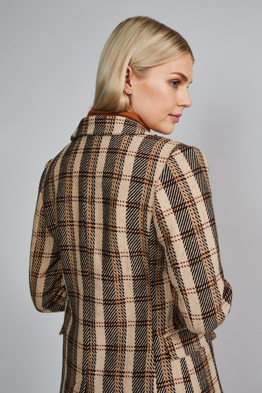 Native Youth Beige Check Double Breasted Blazer