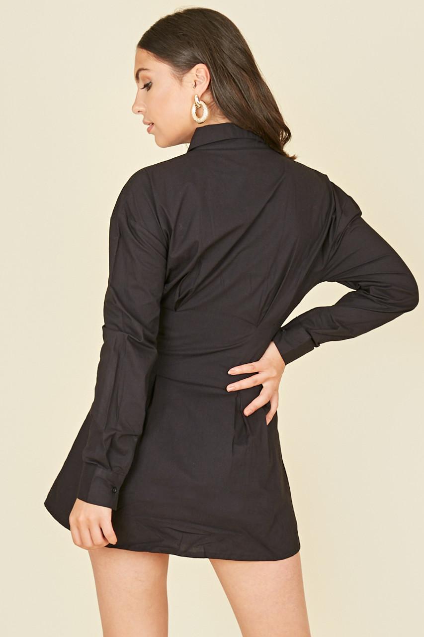 Black Cotton Poplin Pin Tuck Waist Shirt Dress