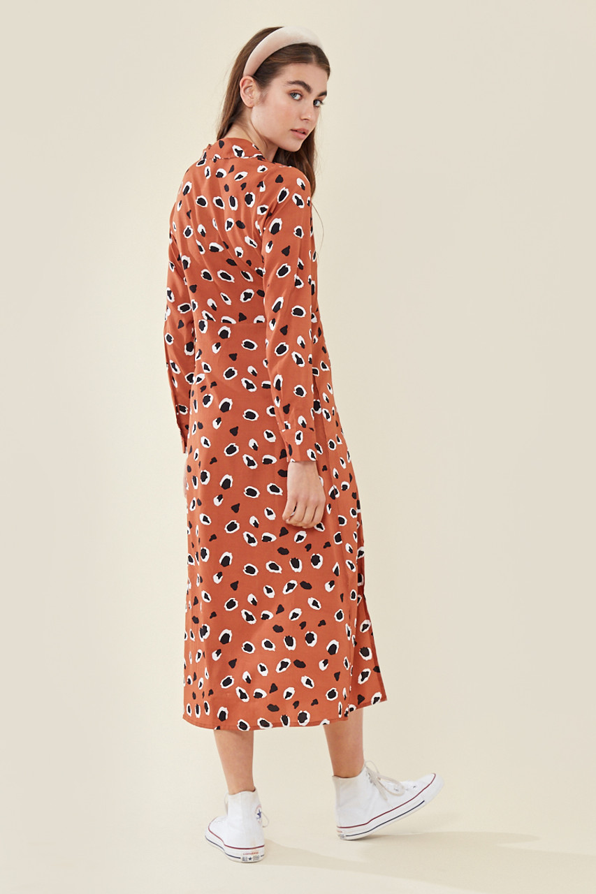Rust Abstract Animal Print Midaxi Dress