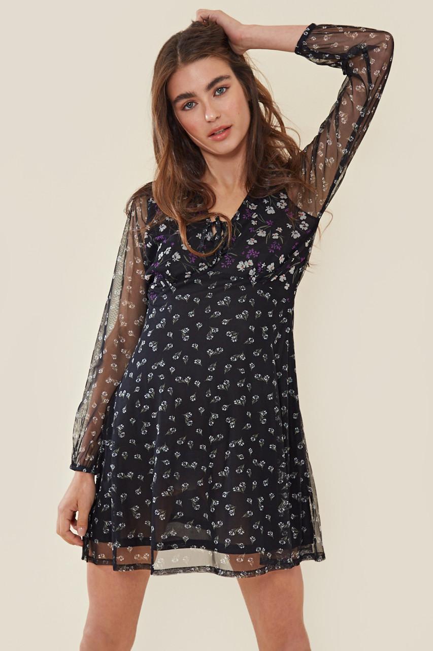 Black Mixed Floral Mesh Tie Front Tea Dress