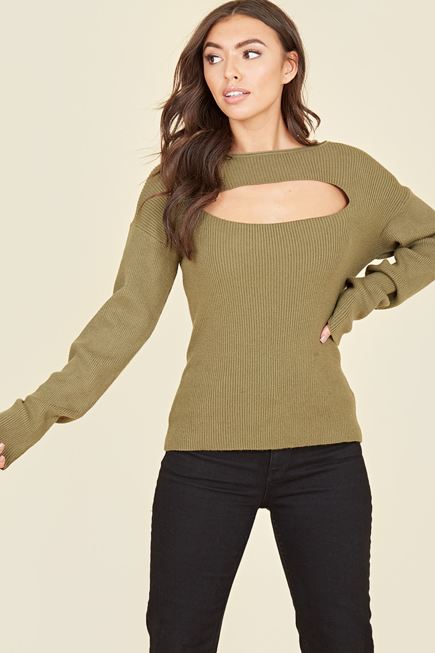 Khaki Ribbed Knitted Cut Out Detail Long Sleeve Top