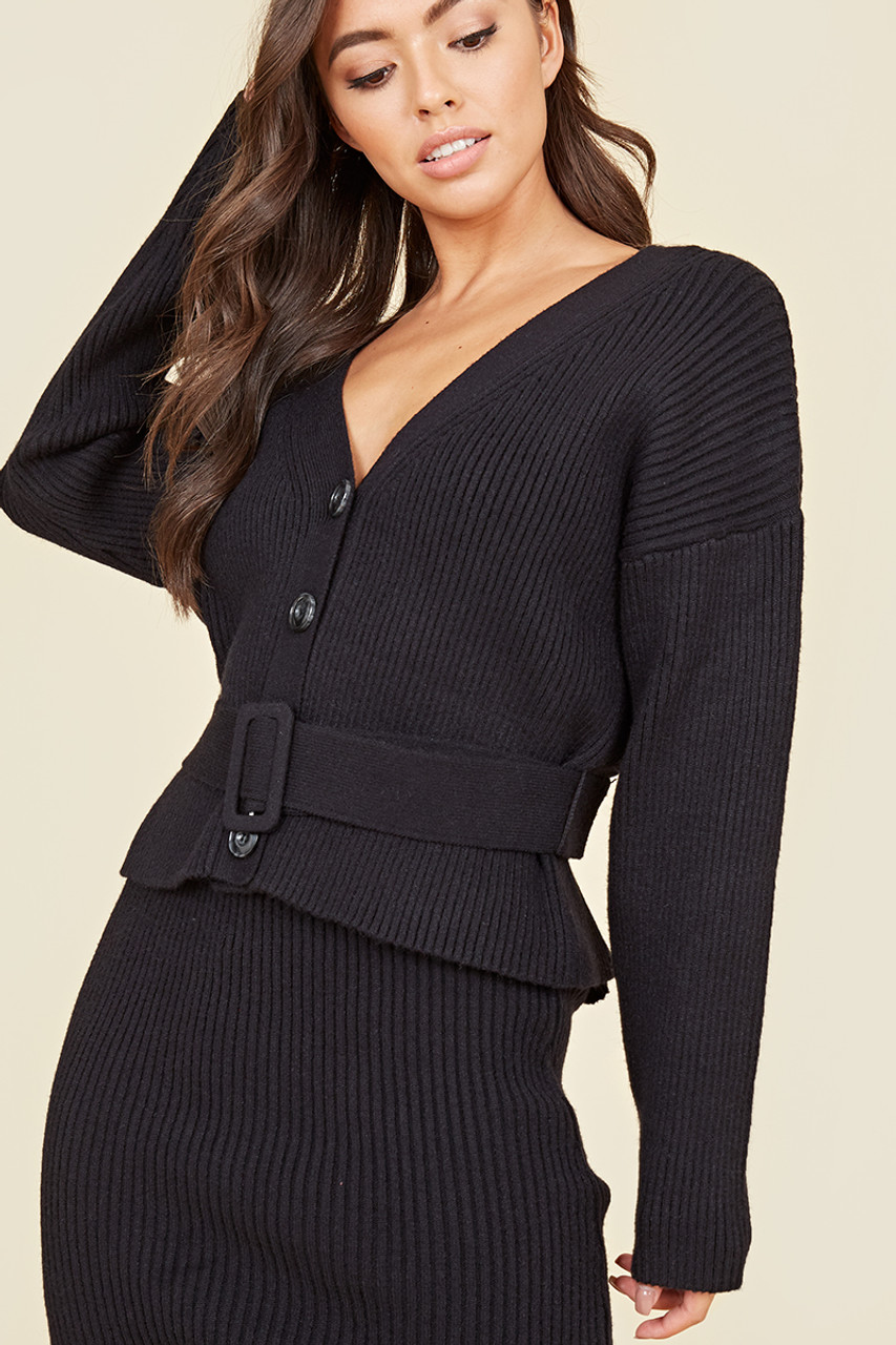 Black Chunky Knitted Ribbed Drop Shoulder Belted Cardigan