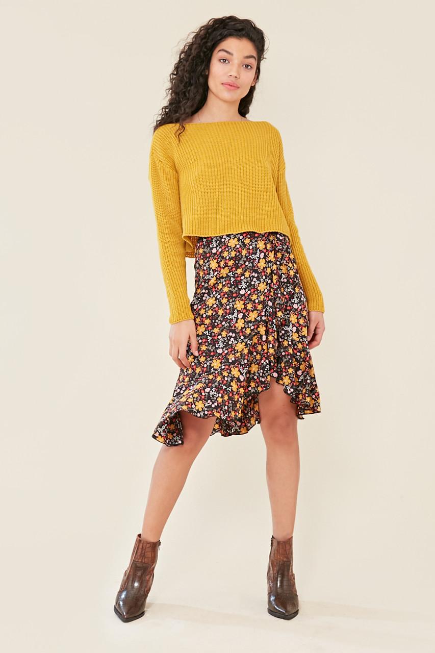 Black Floral Print Tie Detail Frill Hem Wrap Midi Skirt