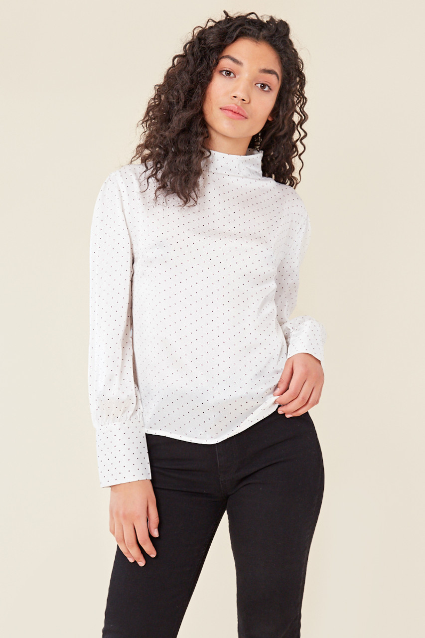White Satin Spot High Neck Long Sleeve Shell Top