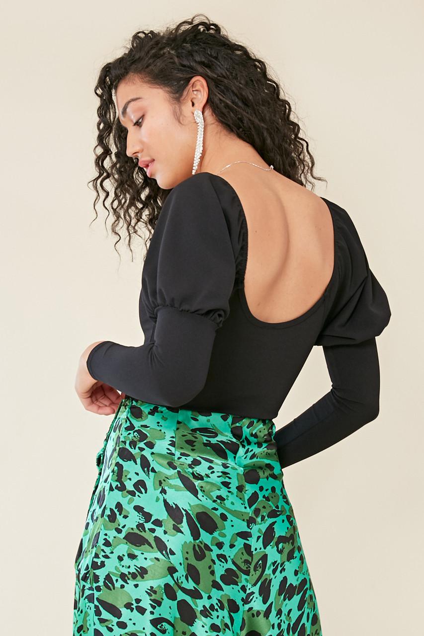 Black Scoop Neck Puff Sleeve Bodysuit