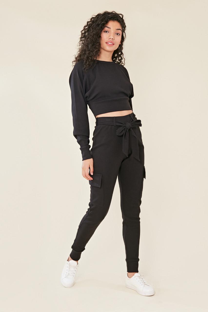 Black Balloon Sleeve Knitted Crop Jumper