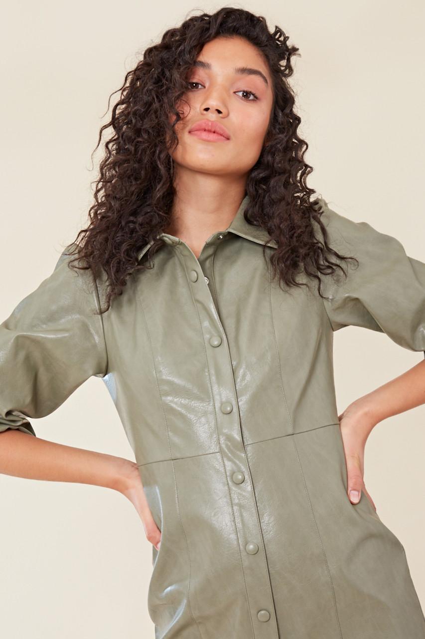Sage Green PU Shirt Dress with Puff Sleeves