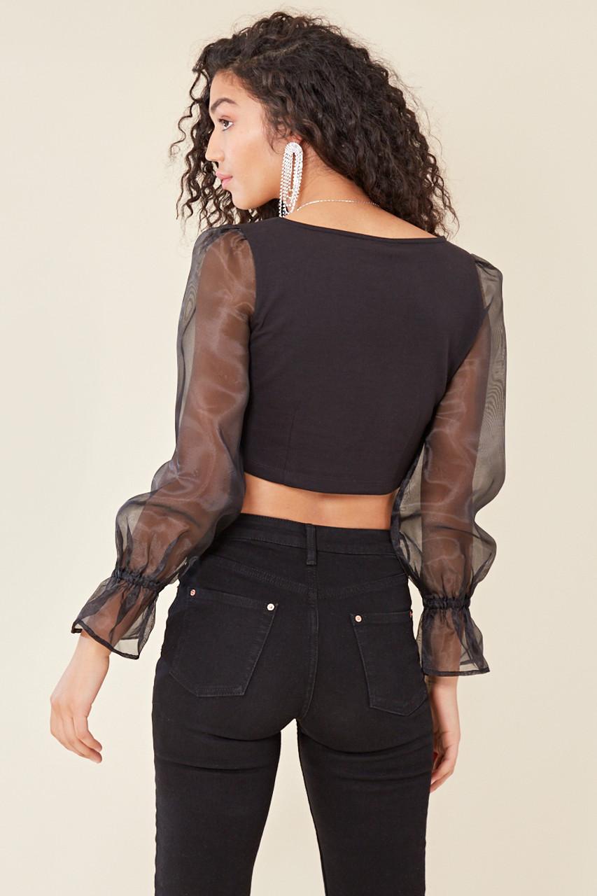 Black Jersey Cropped V Neck Organza Sleeve Top