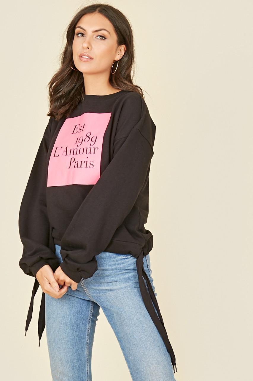 Black Pink Slogan Tie Hem Sweatshirt