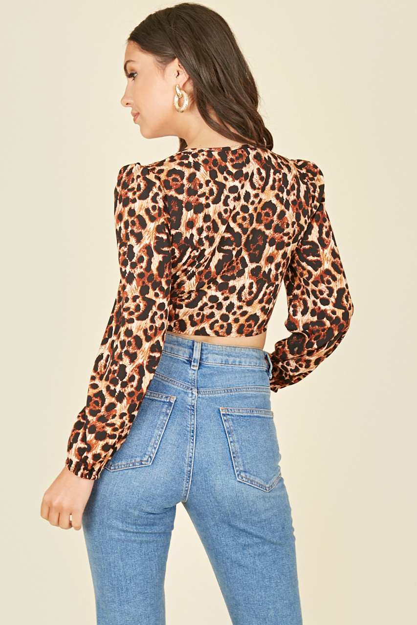 Leopard Print Button Through Long Sleeve Crop Top