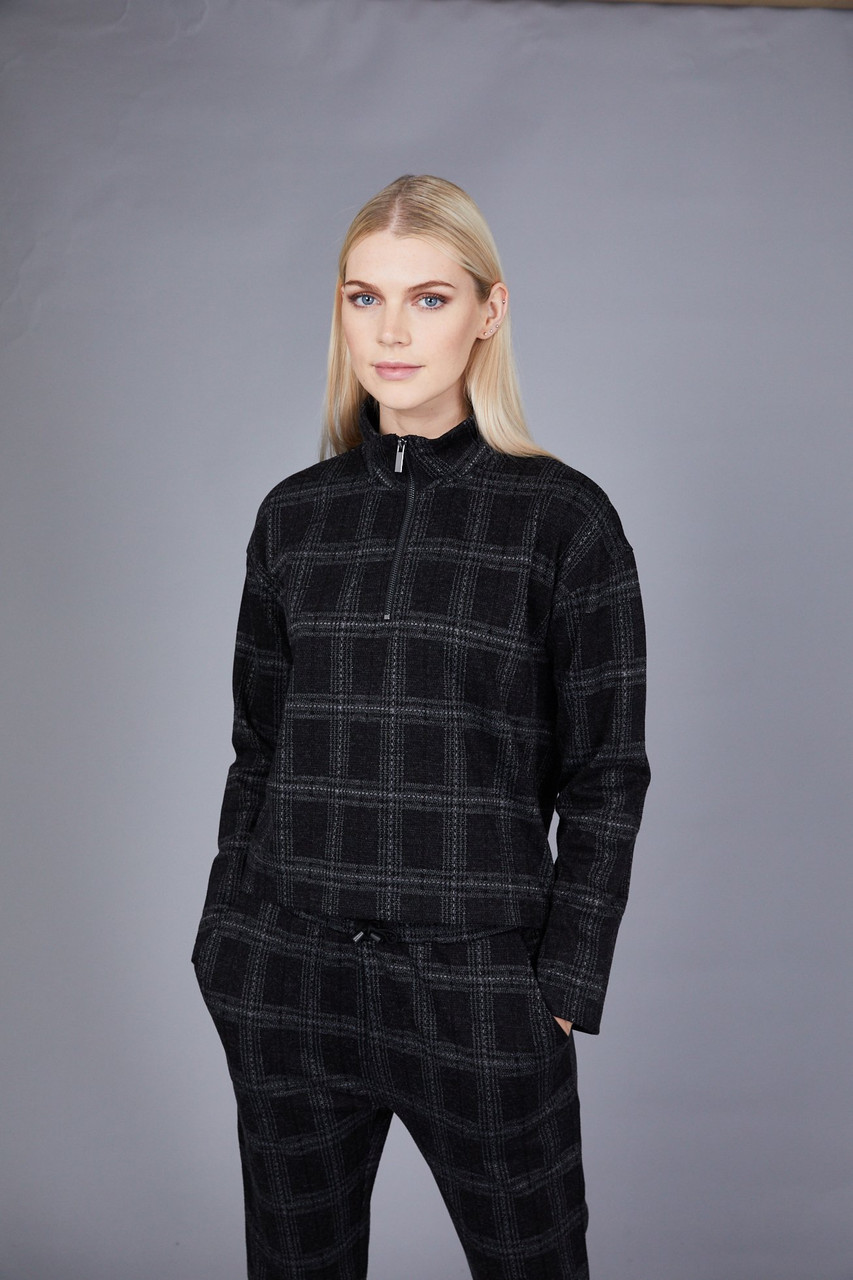 Native Youth Dark Grey Check Funnel Neck Top
