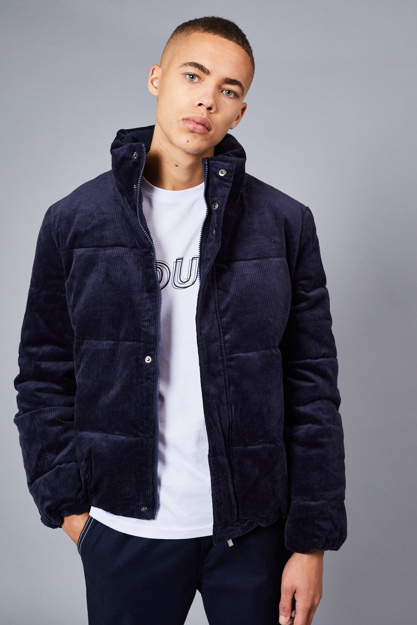 Native Youth Navy Corduroy Puffer Jacket