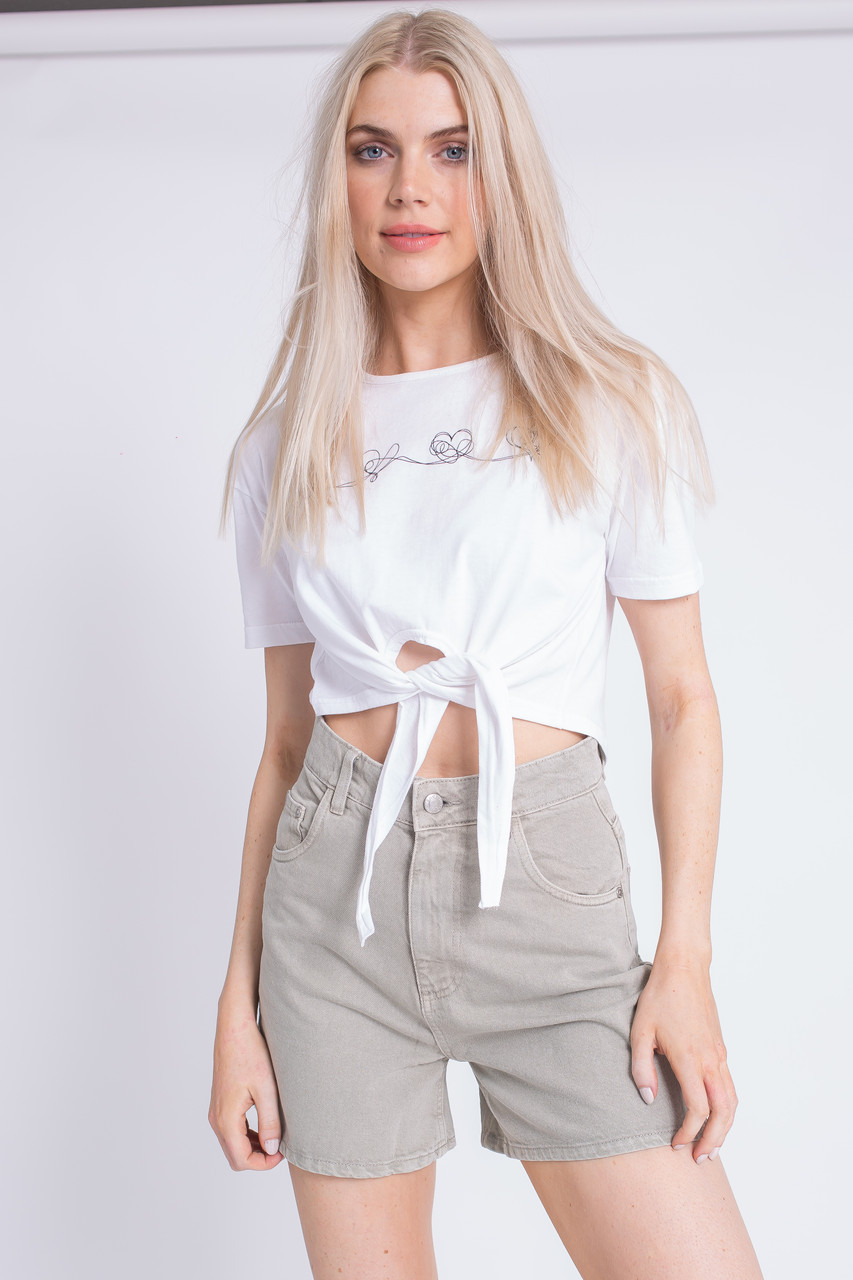 White Love Scribble Print Tie Front Cropped T-Shirt