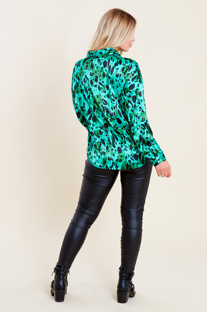 Green Satin Splodge Print Oversized Shirt
