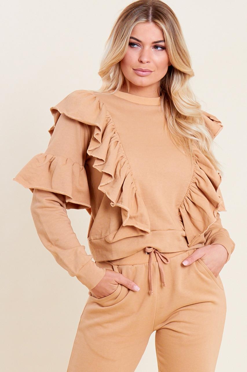 Camel Loop Back Ruffle Detail Sweater