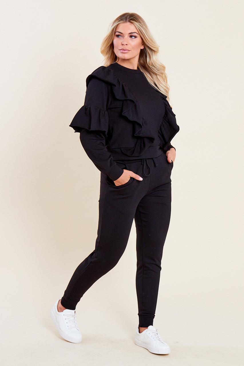 Black Loop Back Ruffle Detail Sweater