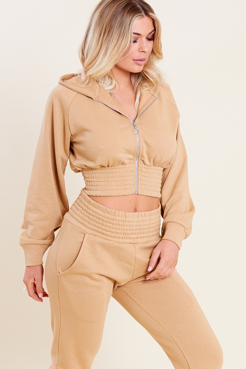 Camel Loop Back Shirred Waist Zip Through Crop Hoodie