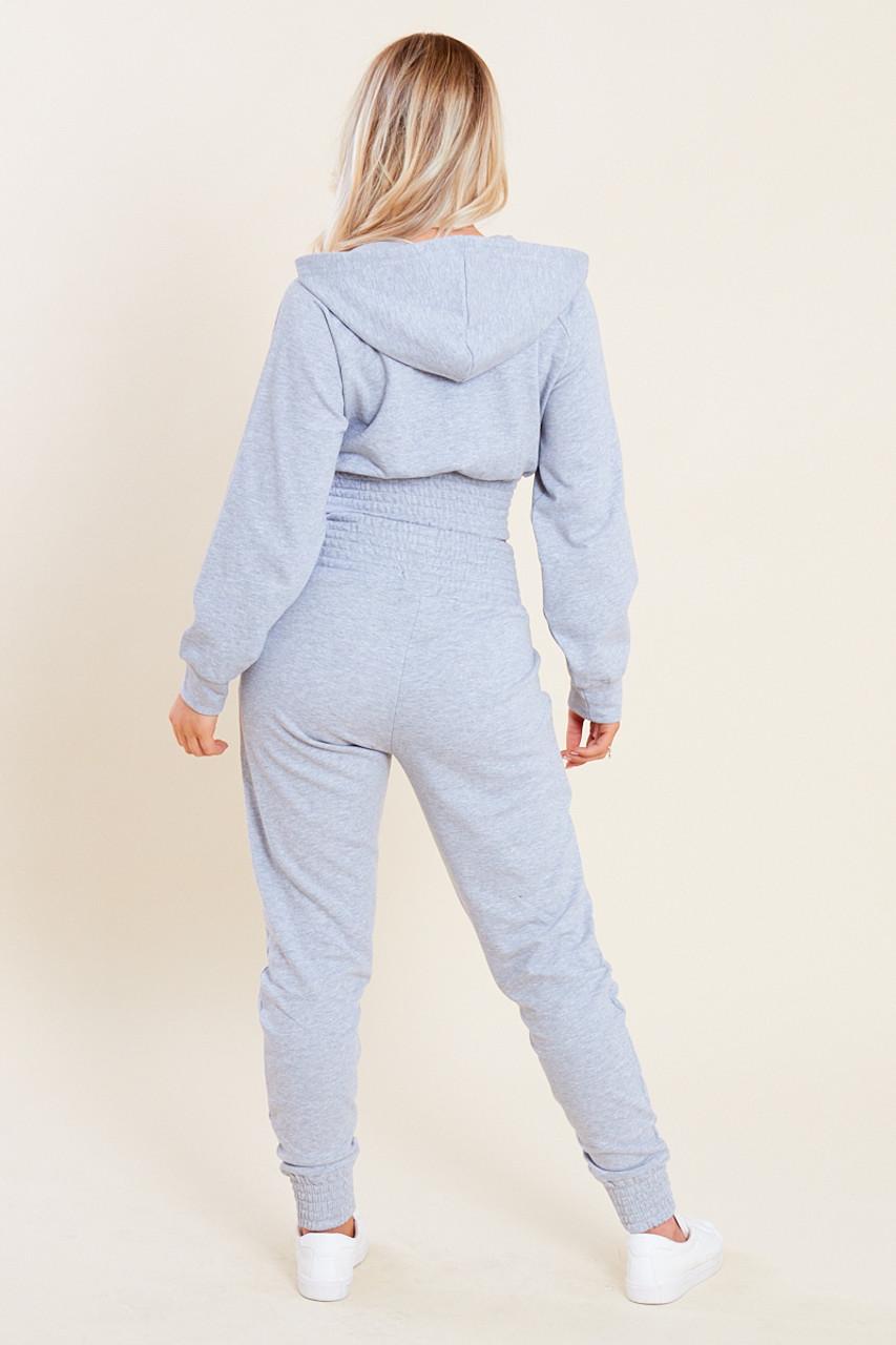 Grey Loop Back Shirred Waist Zip Through Crop Hoodie