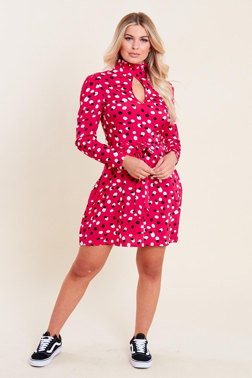 Pink Spot Print Ruffle High Neck Key Hole Belted Mini Dress