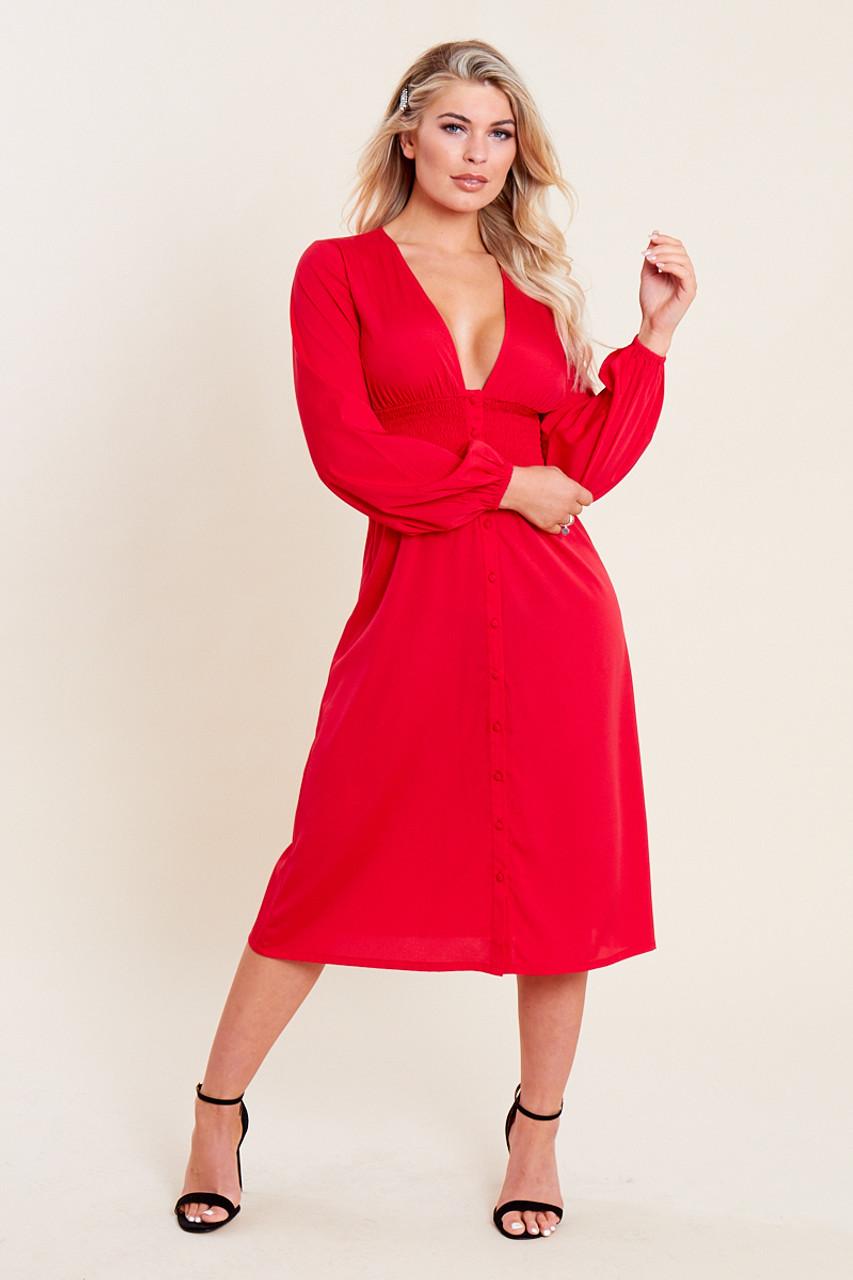 Red Shirred Waist Button Through Midi Tea Dress